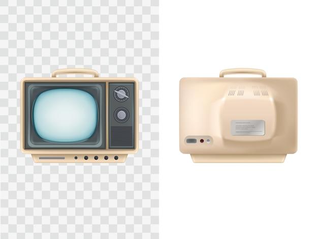 ヴィンテージテレビセット。フロント、バックビュー。テレビジョン装置 Premiumベクター