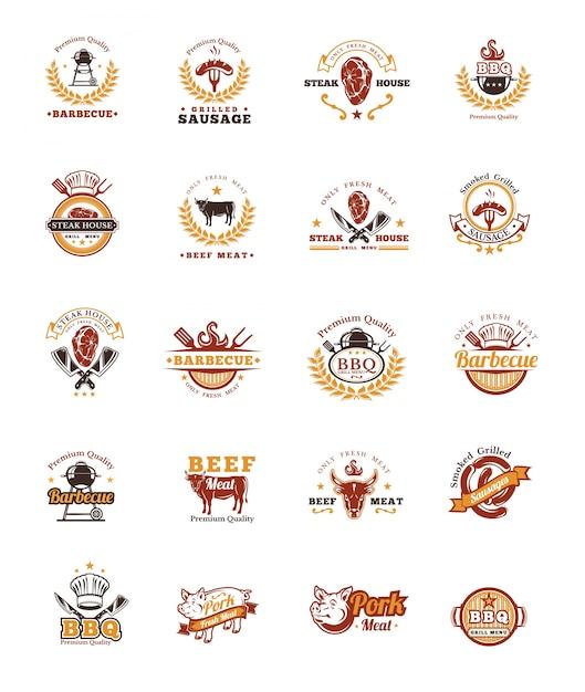 Установите значки для гриля и барбекю, наклейки, эмблемы Бесплатные векторы