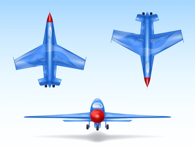 軍用機、戦闘機のセット。異なる視点の戦闘飛行機 無料ベクター
