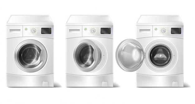 Реалистичная стиральная машина с фронтальным погрузчиком и интеллектуальным дисплеем Бесплатные векторы