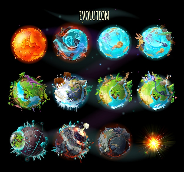 地球上の生命の起源、進化、気候変動の段階 無料ベクター