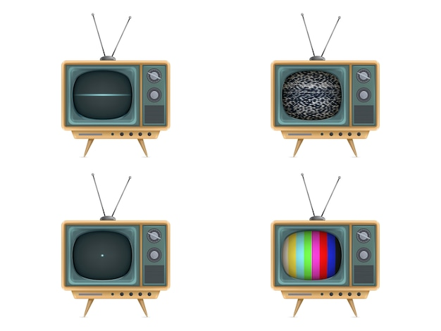 Урожай телевизор, телевизор. включение, выключение, белый шум, тестовая карта, запуск Бесплатные векторы