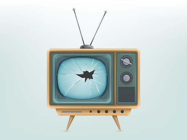 壊れたレトロテレビセット、テレビのイラスト。傷ついたヴィンテージ電子ビデオディスプレイ 無料ベクター