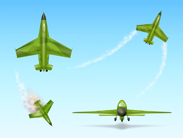 軍用機、戦闘機のセット。カモフラージュ戦闘飛行機をさまざまな視点で 無料ベクター