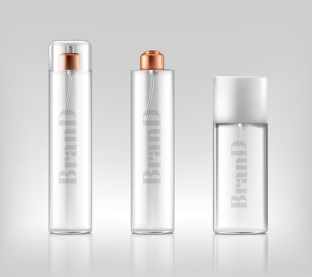 現実的なガラススプレーによるプロモーションバナー、化粧品、ゲル、クリームの瓶 無料ベクター