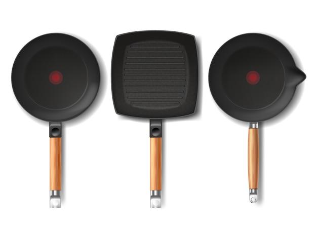 様々な形状の現実的な黒色のフライパンをセットし、赤色のサーモスポットインジケータ 無料ベクター
