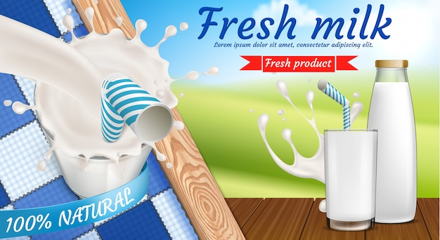 Красочный баннер с бутылкой молока и полным стаканом свежего молочного напитка с питьевой соломкой Бесплатные векторы