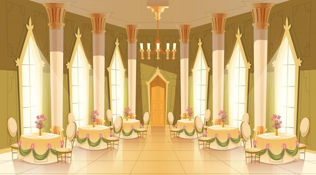 城、舞踊のための舞踏室、ロイヤルレセプションの漫画のイラスト 無料ベクター
