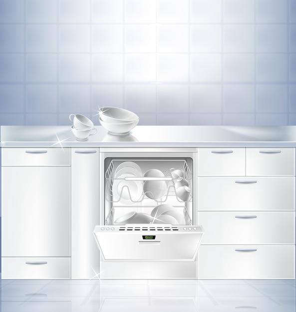 白いきれいな床と壁のキッチンルームの現実的なモックアップ。 無料ベクター