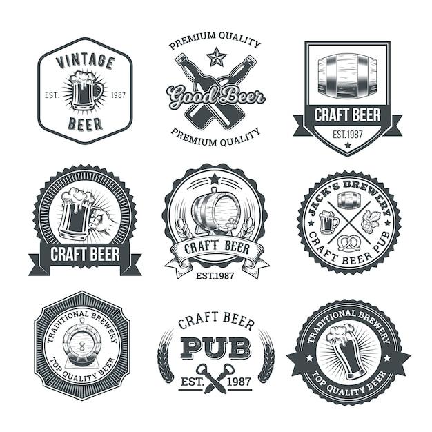 レトロなビールのエンブレム、バッジ、ステッカーのコレクション 無料ベクター