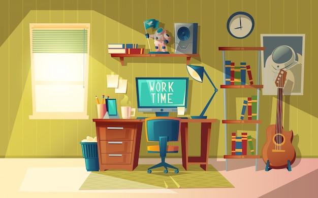 Мультфильм иллюстрация пустой домашний офис, современный интерьер с мебелью Бесплатные векторы