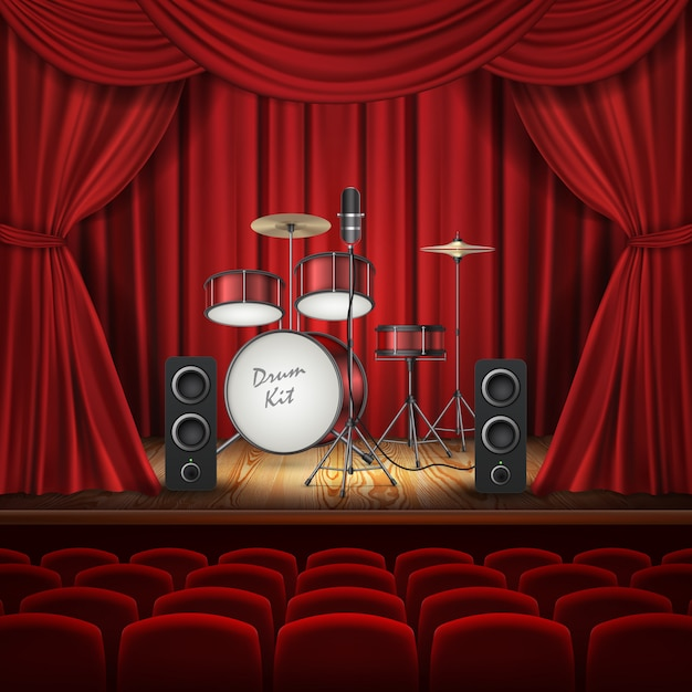 空のステージにドラムキットを持つ背景 無料ベクター