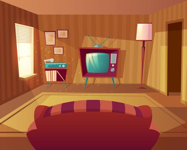 漫画のリビングルームのイラスト。ソファからテレビ、ビニールプレイヤーまでの正面図。 無料ベクター