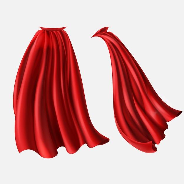 現実的な赤い外套のセット、流れるシルクの生地は、白い背景に隔離されています。 無料ベクター