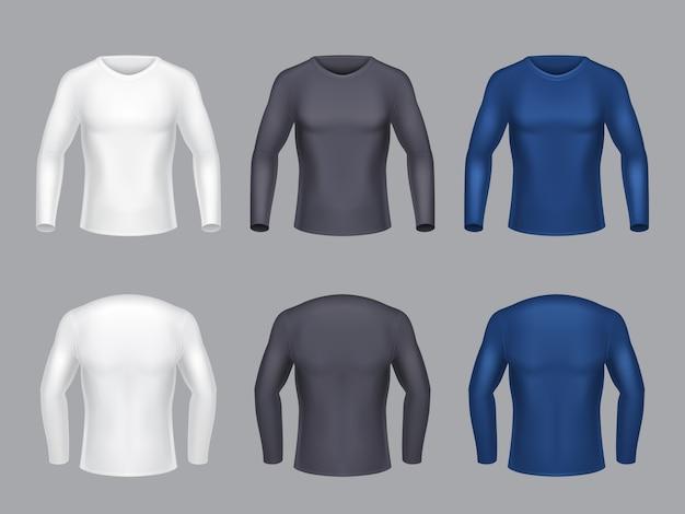 現実的なセットのブランクのシャツ、男性用の長袖、男性用のカジュアルな衣類、スウェット 無料ベクター