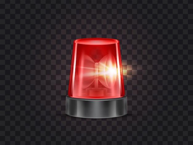 警察や救急車のためのサイレンと赤いフラッシャー、点滅ビーコンのイラスト 無料ベクター