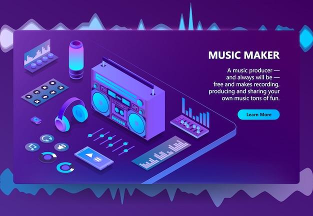 音楽と録音制作のイラストレーション 無料ベクター