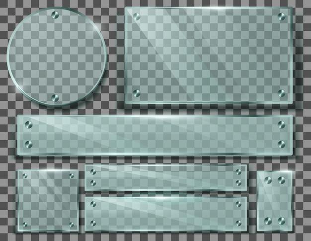 透明なガラス板の現実的なセット、金属製のネジ付きのブランクフレーム 無料ベクター