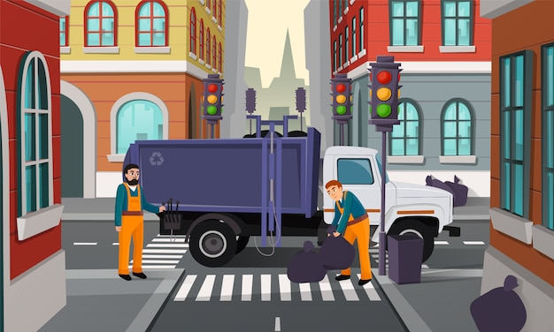 Мультфильм иллюстрация городского перекрестка с светофором, мусоровоз и рабочих забрать Бесплатные векторы