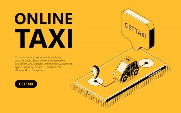 オンラインタクシーアイソメイラスト、キャブを受け取るためのウェブページ 無料ベクター