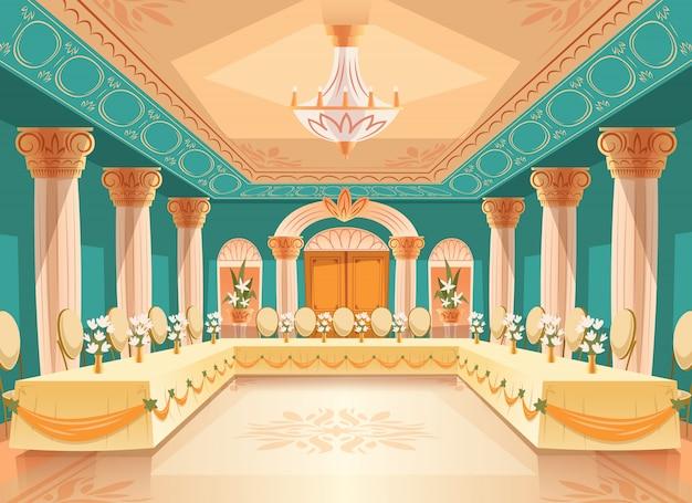 宴会、結婚式のためのベクトルホール。テーブル付きのボールルームのインテリア、ごちそう用の椅子、お祝いまたは 無料ベクター