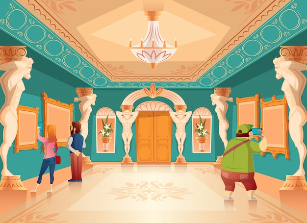 Векторная мультика музейная выставка с изображениями и посетителями в королевском бальном зале с колоннами атласа. арканзас Бесплатные векторы