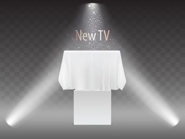 新しいテレビのコンセプト、プロジェクターのライトでのスクリーンの展示。プラズマテレビのモックアップ 無料ベクター