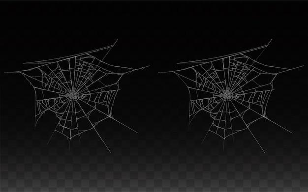 現実的なクモの巣、暗い背景に隔離されたスパイダーウェブのコレクション。 無料ベクター