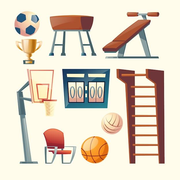 学校、大学のジム設備の漫画セット。バスケットボール、バレーボールの競争要素 無料ベクター