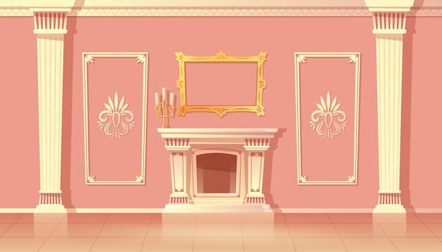 高級リビングルームの漫画のインテリア、暖炉のあるボールルーム。 無料ベクター