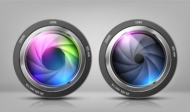 Реалистичный клипарт с двумя объективами для фотоаппарата, фото цели с масштабированием Бесплатные векторы