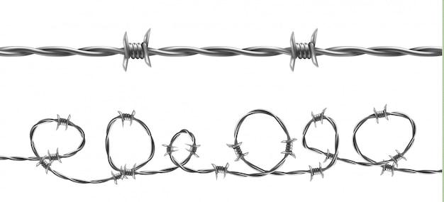 Иллюстрация колючей проволоки, горизонтальный бесшовный узор с витой проволокой Бесплатные векторы