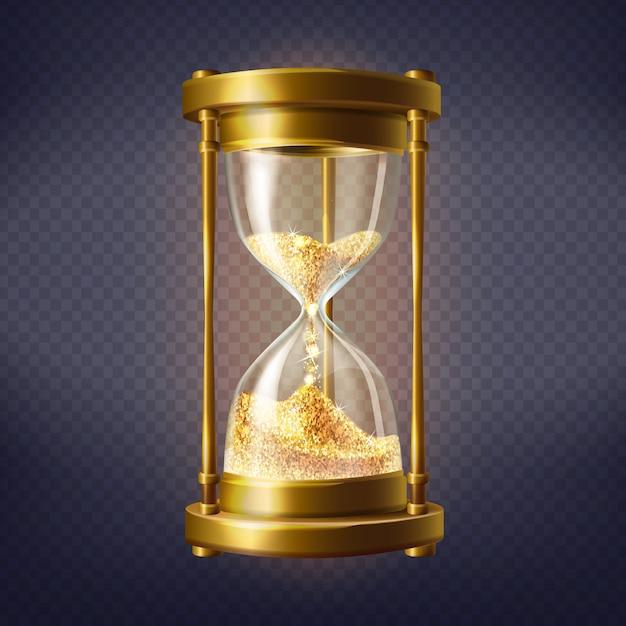 Реалистичные песочные часы, старинные часы с золотым песком внутри Бесплатные векторы