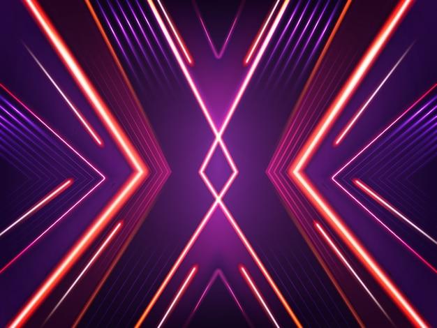 抽象的なネオンの背景。赤、紫、ピンクのキセノンランプが明るく輝いています。 無料ベクター