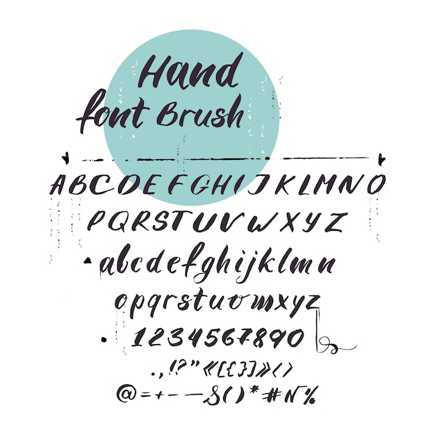 ラテンアルファベット、筆記体フォント。手書きの手紙 無料ベクター