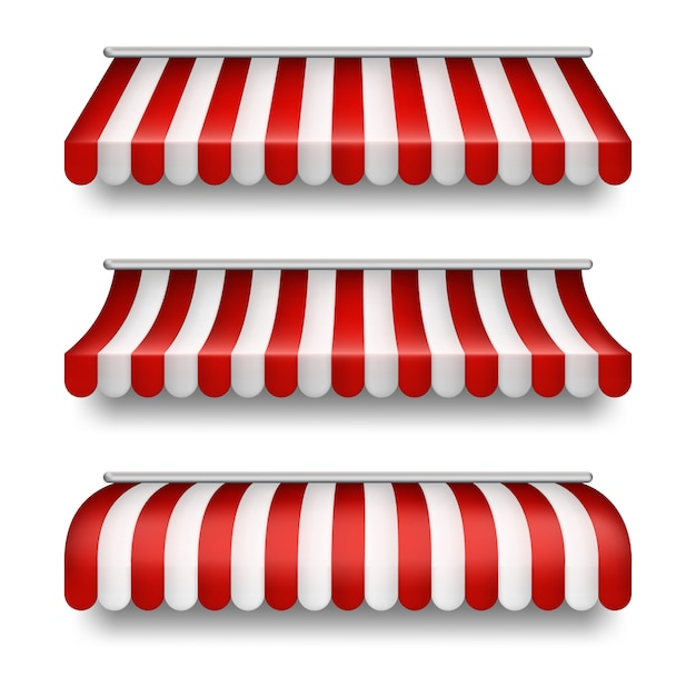 背景に隔離された現実的なストライプテントのセット。赤と白のテント付きクリップアート 無料ベクター