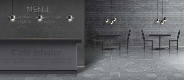 Макет интерьера кафе с пустой барной стойкой, обеденными столами и стульями, потолочными светильниками Бесплатные векторы