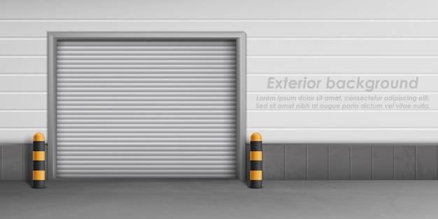 閉じたガレージドアのある外壁、駐車場の収納スペース。 無料ベクター