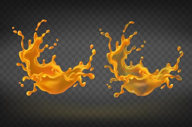 Реалистичные оранжевые брызги, сок или краска всплеск с каплями. Бесплатные векторы