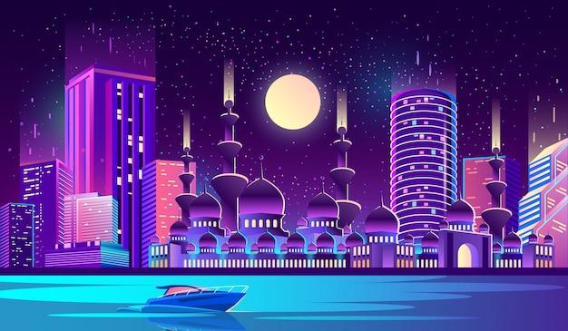 イスラム教徒のモスクと夜市の背景 無料ベクター