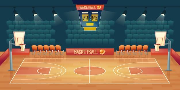 空のバスケットボールコートの漫画の背景。スポットライト付きスポーツアリーナのインテリア 無料ベクター