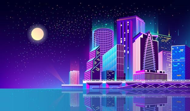 ネオンライトの夜市と背景 無料ベクター