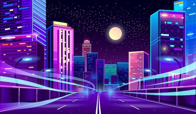 Пустая дорога в мегаполисе ночью Бесплатные векторы