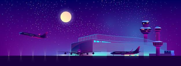 Ночной аэропорт в ультрафиолетовых тонах, фон Бесплатные векторы