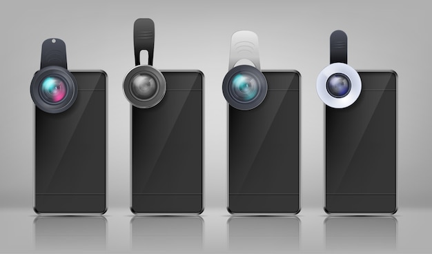 様々なクリップ式レンズを備えたリアルなモックアップ、黒いスマートフォン 無料ベクター
