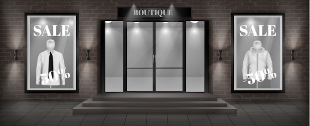 Концепция фон, фасад магазина бутика с вывеской Бесплатные векторы