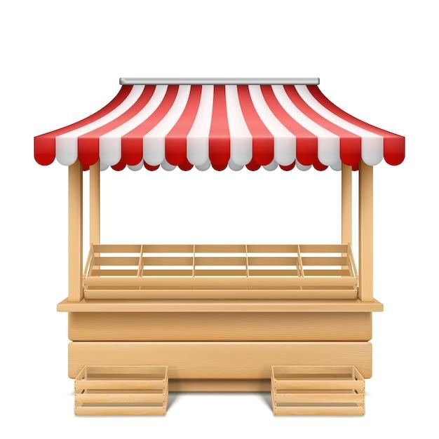 赤と白のストライプの日除けと空市場の屋台の現実的なイラスト 無料ベクター