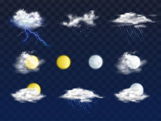 さまざまな雲、太陽と月の円盤と天気予報アプリの現実的なアイコンのセット 無料ベクター