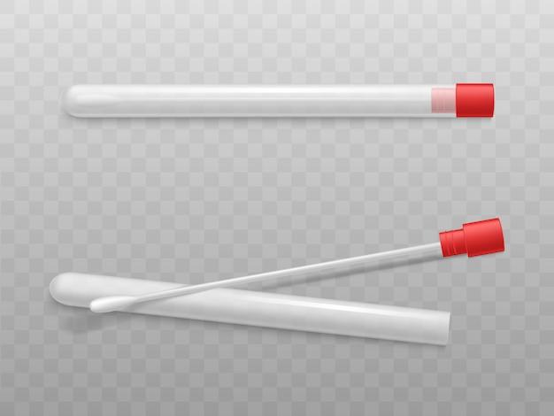 赤い帽子が付いているプラスチック管の綿棒 無料ベクター