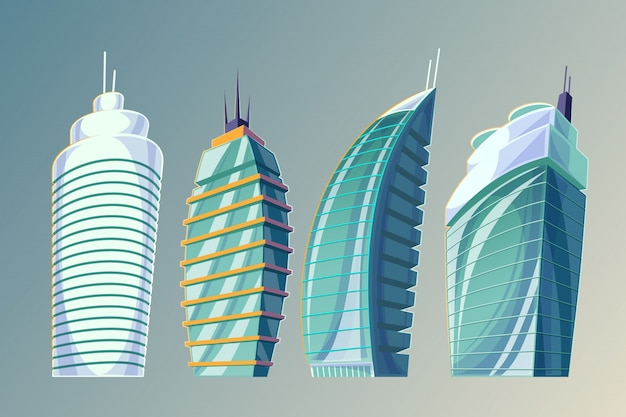 Установите вектор мультфильм иллюстрации абстрактных городских больших современных зданий. Бесплатные векторы